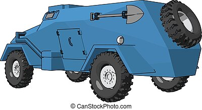 3D vector illustration on white background of a blue armoured military vehicle