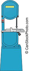 3D vector illustration on white background of a blue metal cutting saw