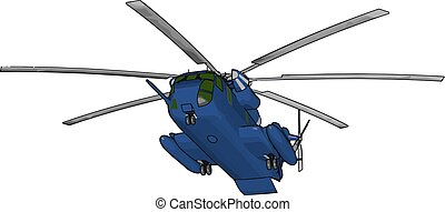 3D vector illustration on white background of a blue military helicopter