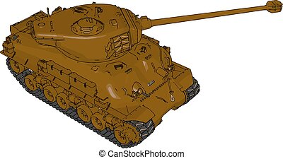 3D vector illustration on white background of a brown military tank