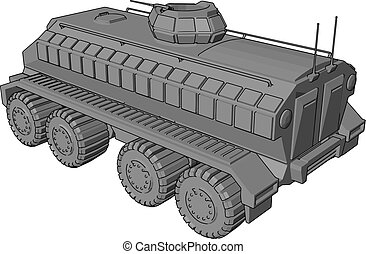 3D vector illustration on white background of a gray armoured military vehicle