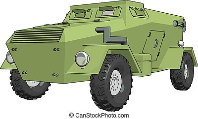 3D vector illustration on white background of a green armoured military vehicle