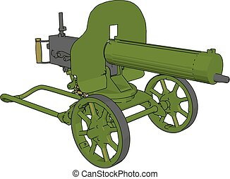 3D vector illustration on white background of a green military cannon