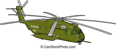 3D vector illustration on white background of a green military helicopter