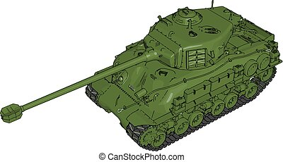 3D vector illustration on white background of a green military tank