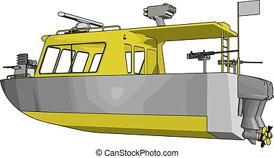 3D vector illustration on white background of a grey and yellow military boat