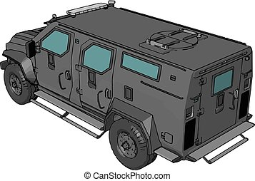3D vector illustration on white background of a grey armed military vehicle