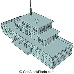 3D vector illustration on white background of a military barracks