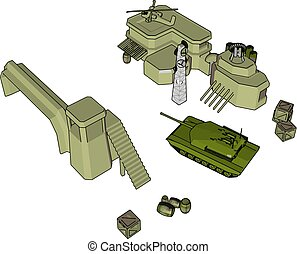 3D vector illustration on white background of a military base