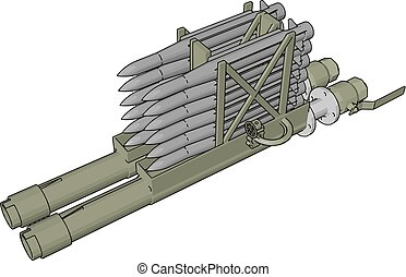 3D vector illustration on white background of a military missile laucher