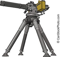 3D vector illustration on white background of a military missile machine gun