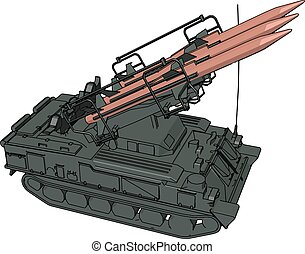 3D vector illustration on white background of a military missile tank