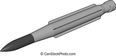 3D vector illustration on white background of a military missile