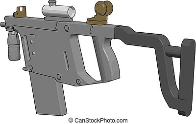 3D vector illustration on white background of a military rifle