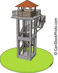 3D vector illustration on white background of a watch tower