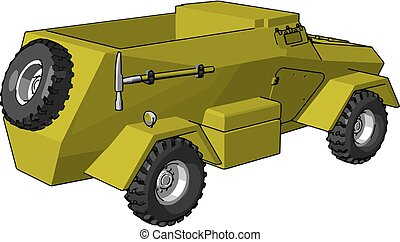 3D vector illustration on white background of an yellow armoured military vehicle