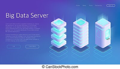 3d Vector Isometric Set of Big Data Center Server