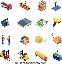 3D vector isometric warehouse, transportation, logistic and delivery icon set