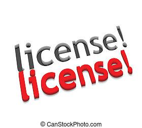 3d vector license text design