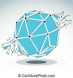 3d vector low poly spherical object with black connected...