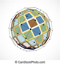 3d vector low poly spherical object