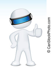 3d Vector Man showing Ok Sign