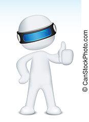 3d Vector Man showing Ok Sign - illustration of 3d man in...