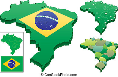 3D vector map of Brazil in 3 versions. Flat map of Brazil as well as the Brazilian flag are included as a bonus. You can remove the capitals of the states in the second map, and you can change the color of each state in the third map and in the flat map in the vector files. No transparency used.