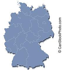 vector map of Germany - 3d vector map of Germany each...