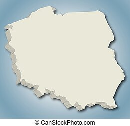 3D vector map of Poland.