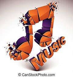 3d vector orange demolished musical notes, music word. ...