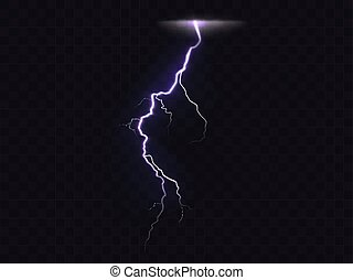 Vector illustration of 3d realistic lightning or thunderbolt isolated on dark translucent background. Bright flash of light, electrical discharge during thunderstorm, a natural phenomenon