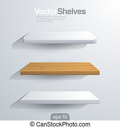 3D Vector shelves. Rectangle and rounded corner shape. -...