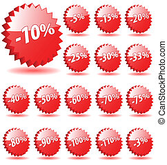 3D vector star badges with discount numbers for promotion and marketing.
