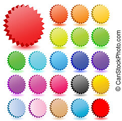 3D vector star badgeswith shadow  collection. Perfect for icons or text.