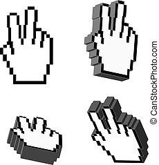 3d, vector, victoria, mano, cursores