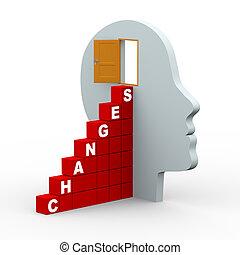 3d, verandering, menselijk hoofd, met, open deur