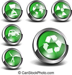 3d, verde, iconos, conjunto, 02