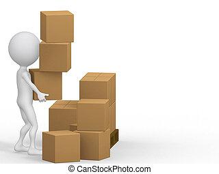 3d, verdragend, boxes., karton, mensen