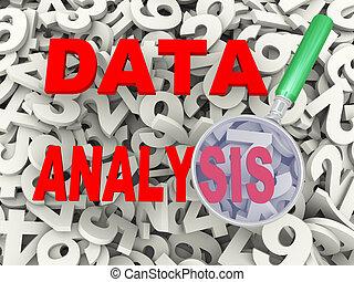 3d, vergrößerungsglas, und, daten, analyse