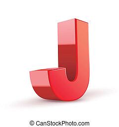 3d, vermelho, letra, j