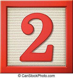 3d, vermelho, número, bloco, 2