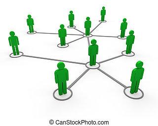 3d, vert, réseau, équipe