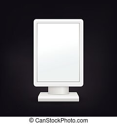 3d vertical blank light box template on black