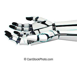 3d, vertolking, handen, twee, robot