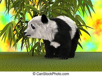 3d, vertolking, panda draagt