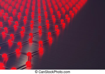 3d, vertolking, rood, abstract, nanotechnologie, zeshoekig, geometrisch, vorm, close-up, concept, graphene, nucleaire structuur, concept, graphene, moleculair, structure.