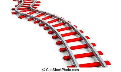 3d, vertolking, rood, spoorwegweg, vrijstaand, op wit, achtergrond