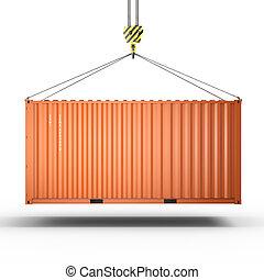 3d, vertolking, van, een, kraan, haak, met, een, de container van de lading