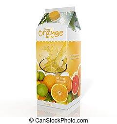 3d, vertolking, van, sinaasappelsap, papier, verpakking,...